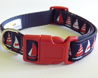 Nautical Dog Collar, Boat Dog Collar, Navy Dog Collar, Boy Dog Collar, Adjustable Dog Collar