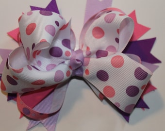 Pink and Purple polka dot boutique bow