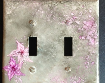 Grey Taupe and Pink Switch Plate- Handpainted Wall Decor