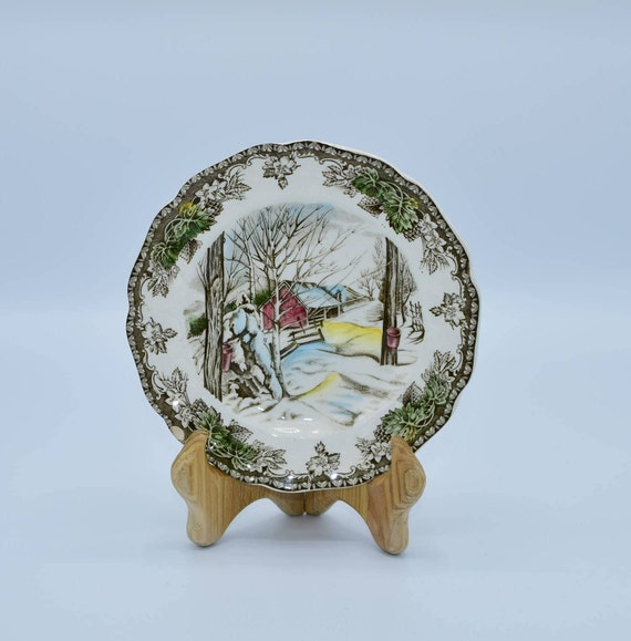 Johnson Brothers The Friendly Village Sugar Maples Bread & Butter Plate Vintage Earthenware Holiday Plate Christmas Plate Thanksgiving Plate