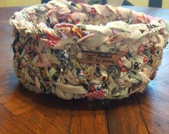 Crochet fabric rag bowl basket holds yarn keys candy knitting  etc