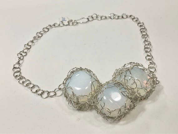 SJC10202 - Handmade sterling silver necklace with three sterling silver wire crochet bezeled opalite glass pieces