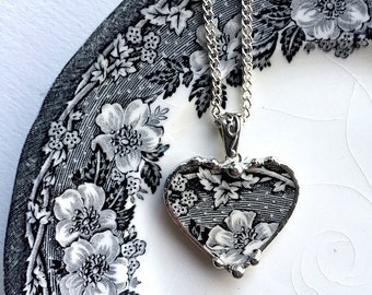 Upcycled jewelry Broken china jewelry, antique black white English transferware heart pendant necklace recycled china Dishfunctional Designs