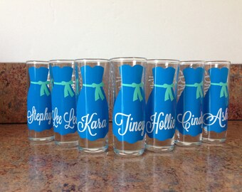 Wedding Glasses, Personalized Bachelorette/Bridesmaid Shot Glasses, Wedding Party Glasses (1)