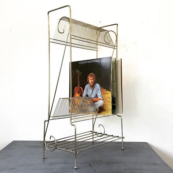 vintage record rack - Mid Century Modern brass two level record stand on wheels - vinyl LP storage