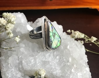 Sterling silver ring with cultured opal