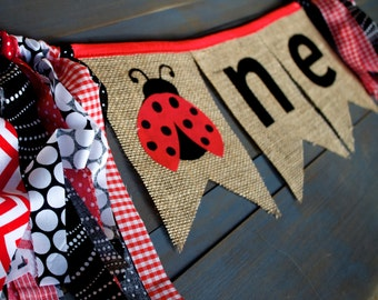 ONE Ladybug First Birthday Party Decorations, Highchair Cake Smash Burlap Bunting Banner Photo Prop for Girl Picnic Birthday, Red Black