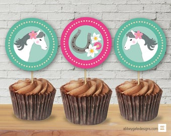 Horse Cupcake Toppers, Horse Stickers, Horse Party Decor, Horse Party Decoration, Horse Party Tableware, Pony Party Theme Decor, Pony Party