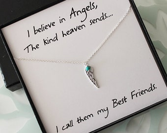 Sterling Silver Wing Necklace, Best Friend Necklace & card, sterling silver Necklace, Best friend gift, Gifts for Her