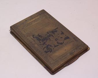 1930 antique brass notebook holder by Nisiotis. 100 years Greek independence, Kolokotronis