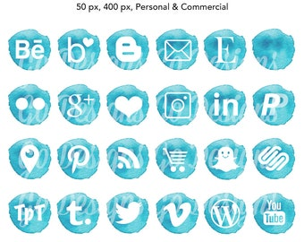 Watercolor Social Media Icons, Turquoise, Aqua, Social Media Graphics, Blog Design, Social Media for Business Cards