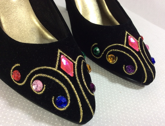 Embroidery Gold Jeweled Black with Velvet 1990s 7 Pumps size vwgYWX