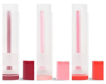 10 - Empty Lip Balm Tubes with Caps. Pink and Red. You Choose from 4 Shades. Brand New Lip Balm Tubes. Clear Lip Balm Tubes.