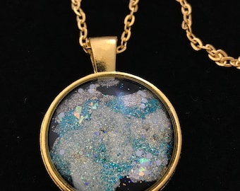 Gold and Blue Glitter Glass Pendant Necklace 001