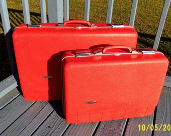 Sears Forecast Ruby Red Luggage, 2 Piece Luggage Set, Sears Hardcase Luggage, Sears & Roebuck Suitcase, Red Suitcase, Photo Prop, Movie Prop