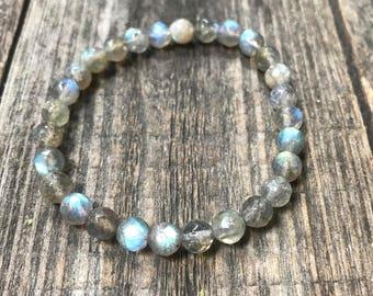Labradorite Stone, Third Eye Opener, Wrist Mala, Labradorite Mala, Prayer Beads, Yoga Bracelet, Labradorite Jewelry, Mala beads 108