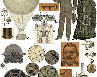 Steampunk Clipart, Digital Collage Sheet, Steampunk Elements and Grunge Background, Instant Printable Download