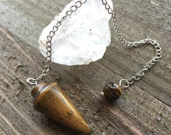 TIGERS EYE PENDULUM- Crystal Dowsing Pendulum