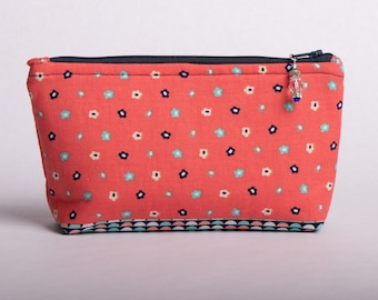 Coral zippered pouch