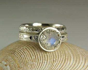 Blue Moonstone Wedding Set,  Wedding Band & Engagement Ring, Round Gemstone Sterling Silver Ring
