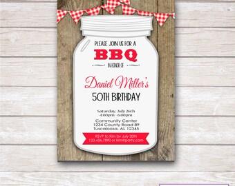 RUSTIC GINGHAM BBQ Birthday Party Invitation- Printable