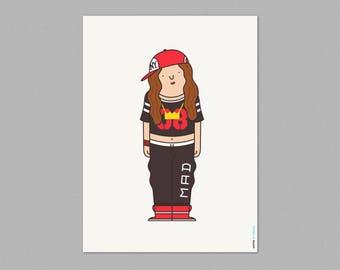 Illustration, Print, Rapper, Hip hop, Cartoon characters, Wall art, Art decor, Hanging wall, Printed art, Decor home, Gift idea, Sweet home.