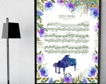 Chopin Sheet  Music Art  Home Decor Inspirational Art  Sheet Music   Watercolor Wall Art  Printable  Instant Download -