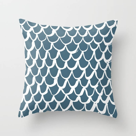 Teal Mermaid Throw Pillow . Teal and White Pillow . Teal Cushion . Teal Mermaid Pillow . Teal Pillow . Mermaid Cushion 14 16 18 20 inch