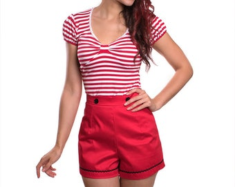 SUNNY_02 Retro High Waist Shorts RED