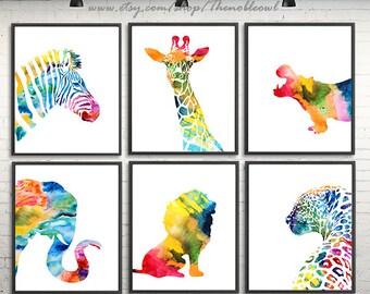African animals nursery animal print watercolor kids art colorful wall decor animal art, Set of 6 prints - S30