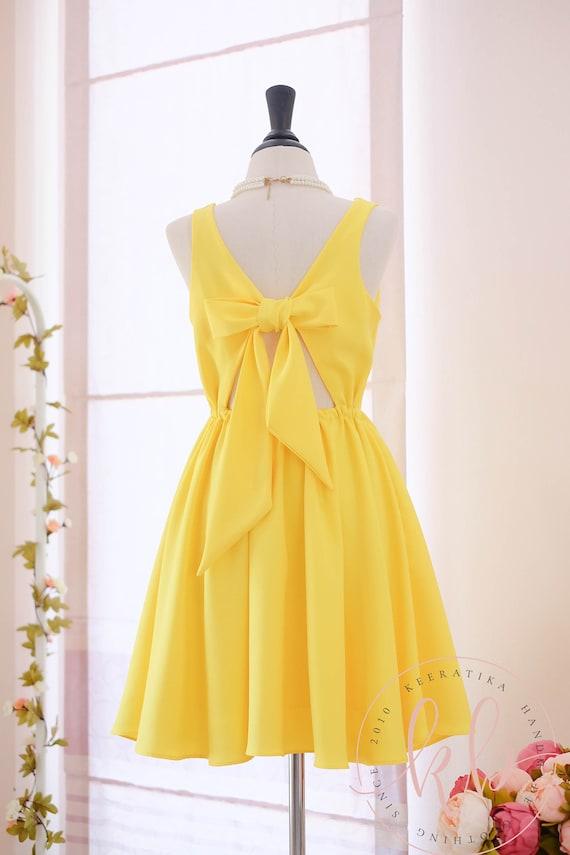 Gelbe Brautjungfer Kleid leuchtend gelben Kleid gelb Partei
