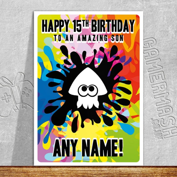 Personalised Birthday Card Splatoon Themed