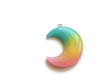 Crescent Moon Glitter Pendant Blue/Teal Yellow Pink Resin (1)
