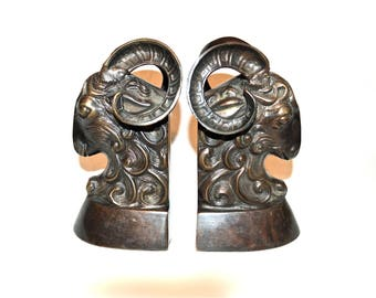 Bronze Ram Bookends, Vintage Dignified and Impressive