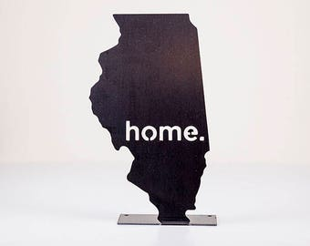 Illinois Home State Steel Sign - Metal State Wall Decor