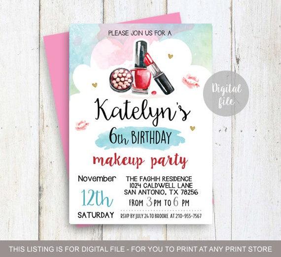 Make-up Geburtstag Partei Einladung l 6. Geburtstagseinladung