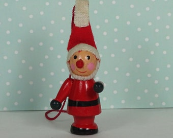 Vintage elf Christmas ornament red white 1960s