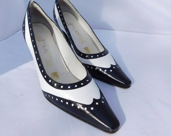 Vintage V. Lanvin Paris Tuxedo Black White Pointy Toe Heels