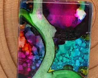 Abstract Shades of Blue Orange Purple Green / Alcohol Ink / Glass / Rectangle Pendant / Necklace / Key Chain