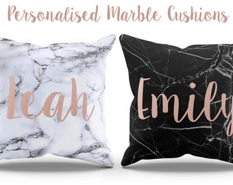 Marble Cushion, Personalized Custom Name Girly Square Pillow White Black Marble Birthday Gift For Her Bedroom Mineral Unique Rose Gold L83