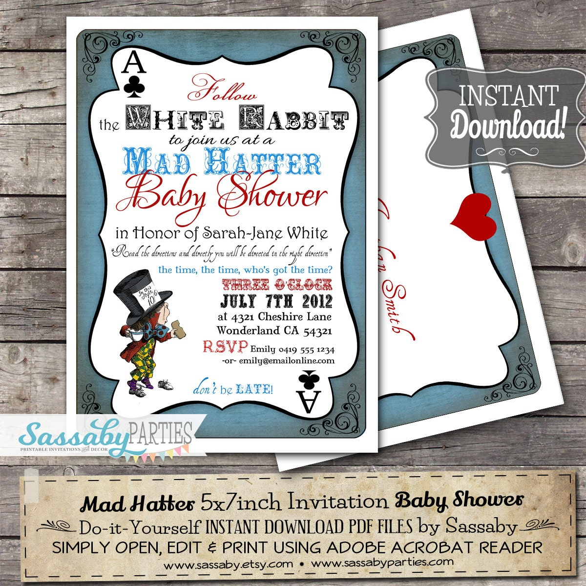 Mad Hatter Baby Shower Invitation INSTANT DOWNLOAD