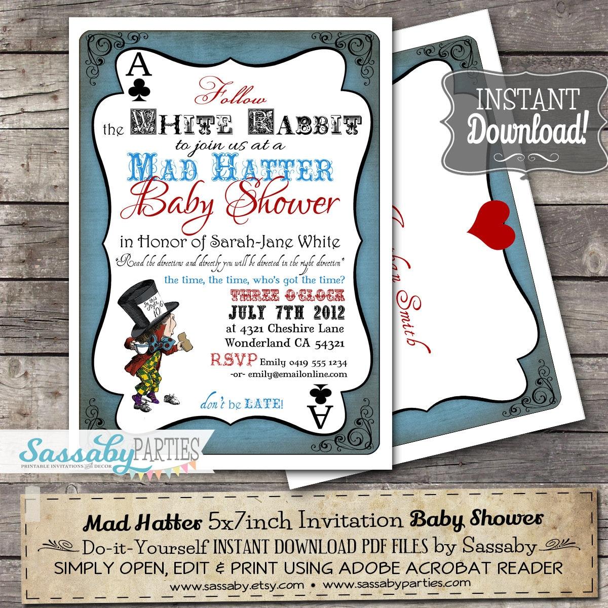Mad hatter baby shower invitation instant download zoom filmwisefo