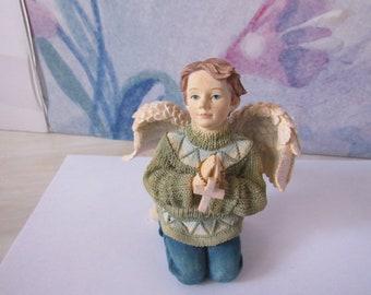 Rare Boy Angel Betty Singer Collection Angels Among Us Angel Of Prayer Boy Holding Cross  2851
