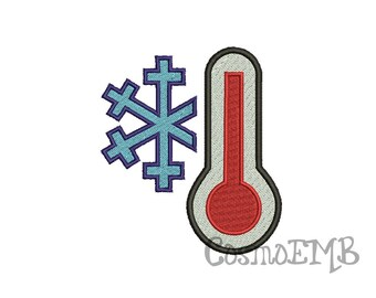 6 Size Thermometer Cold  Embroidery design Machine Embroidery - Digital INSTANT DOWNLOAD