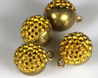 "2 pcs raw brass 10 mm 3/8"" ball pendant finding"