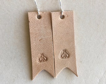 Bee stamped leather earrings