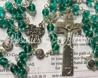 Emerald Czech glass and silver plated Celtic disc bead rosary with silver plated shamrock center and Irish Penal crucifix