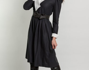 Vintage Charcoal Lapel Collared Dress (Size Small)