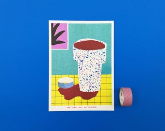 A risograph print of a still life with one of our favourite cups