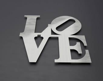 Love Park Sign, Metal Wall Art, Philadelphia Love Park, Word Art, Pop Art, Large Metal Wall Art, Metal Wall Sculpture, Silver Wall Decor